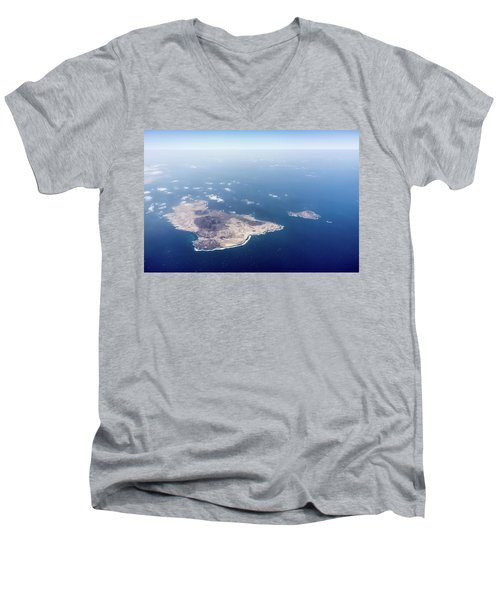 Volcano Island Men's V-Neck T-Shirt by Teemu Tretjakov