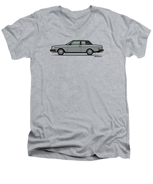 Volvo 262c Bertone Brick Coupe 200 Series Silver Men's V-Neck T-Shirt by Monkey Crisis On Mars