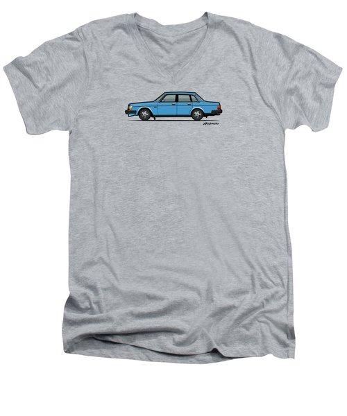 Volvo Brick 244 240 Sedan Brick Blue Men's V-Neck T-Shirt by Monkey Crisis On Mars