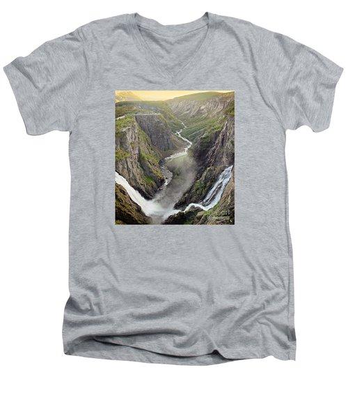 Voringsfossen Waterfall And Canyon Men's V-Neck T-Shirt by IPics Photography