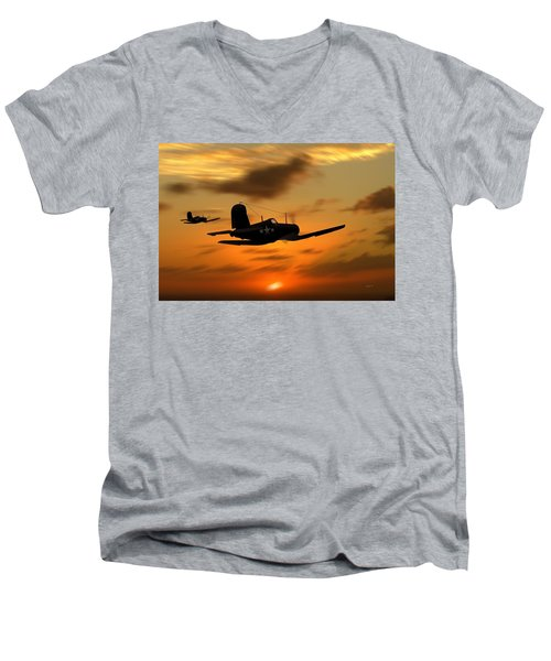 Vought Corsairs At Sunset Men's V-Neck T-Shirt