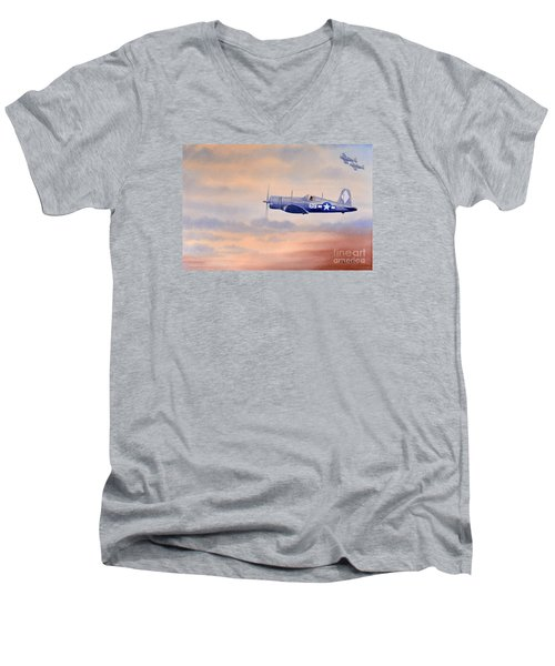 Men's V-Neck T-Shirt featuring the painting Vought F4u-1d Corsair Aircraft by Bill Holkham