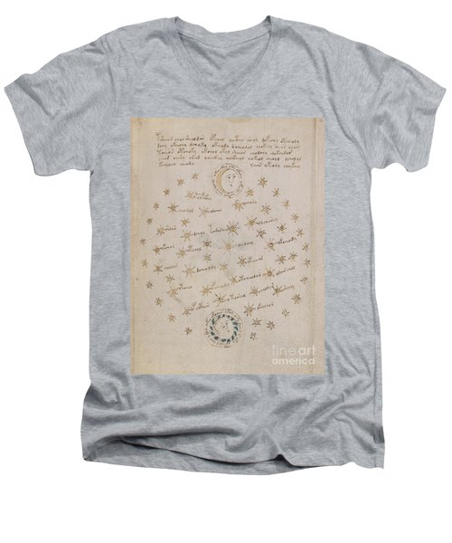 Voynich Manuscript Astro Sun And Moon 1 Men's V-Neck T-Shirt