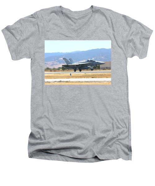 Vr  Mcdonnell Douglas-f/a18 Hornet Departs Hollister Air Show Men's V-Neck T-Shirt