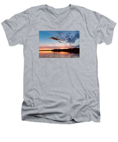 Vulcan Low Over A Sunset Lake Men's V-Neck T-Shirt by Gary Eason