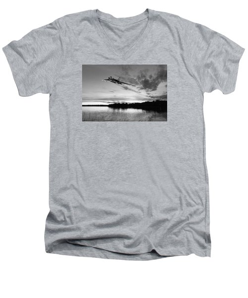 Vulcan Low Over A Sunset Lake Sunset Lake Bw Men's V-Neck T-Shirt by Gary Eason