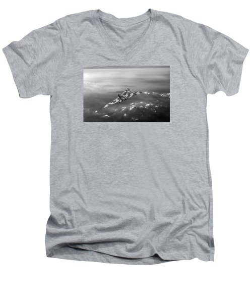 Vulcan Over The Channel Black And White Version Men's V-Neck T-Shirt