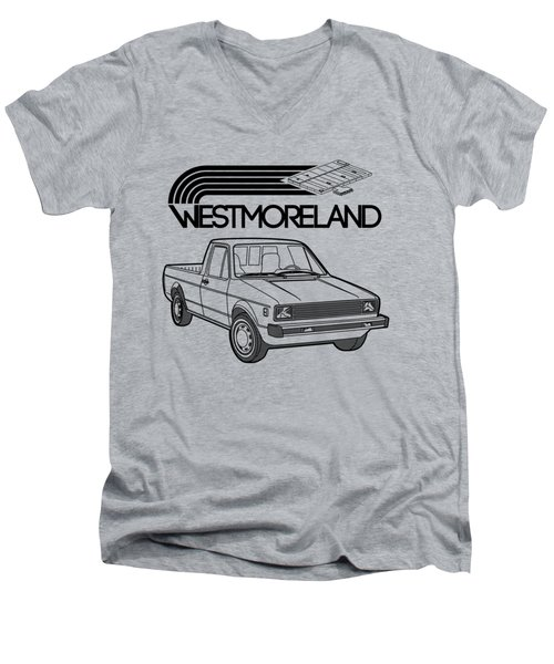 Vw Rabbit Pickup - Westmoreland Theme - Black Men's V-Neck T-Shirt