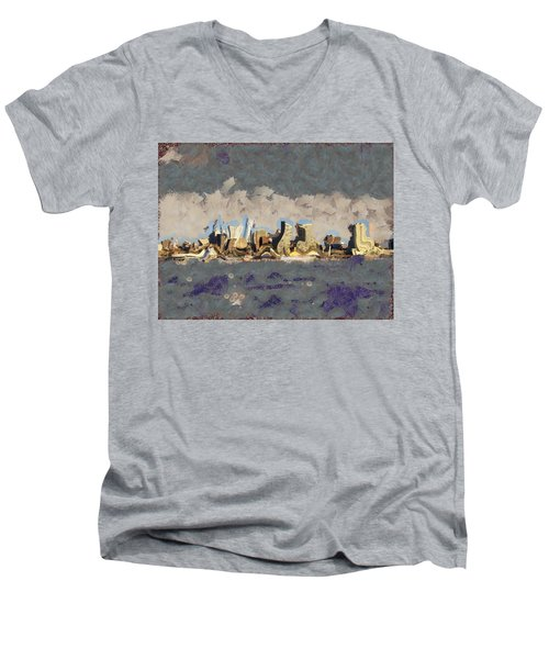 Men's V-Neck T-Shirt featuring the mixed media Wacky Philly Skyline by Trish Tritz