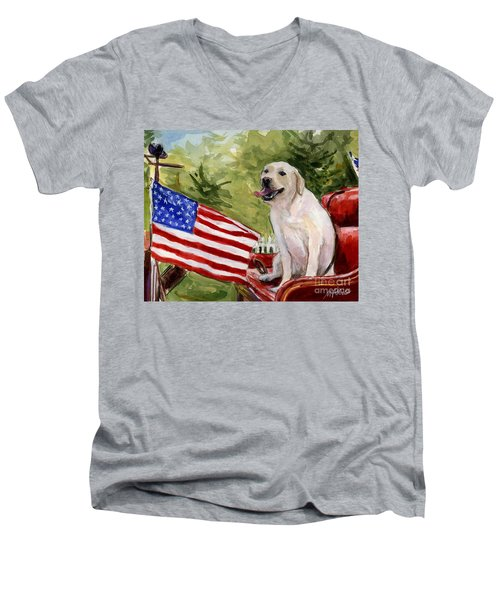 Men's V-Neck T-Shirt featuring the painting Wag The Flag by Molly Poole