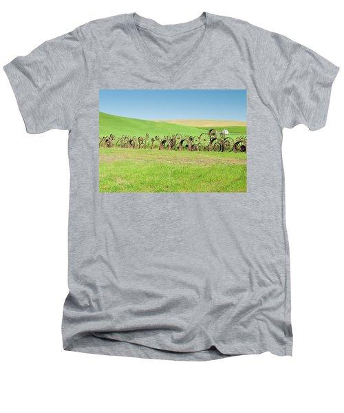 Wagon Wheels Stacked Palouse Washington Men's V-Neck T-Shirt by James Hammond