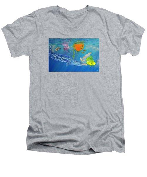 Wahoo Dolphin Painting Men's V-Neck T-Shirt