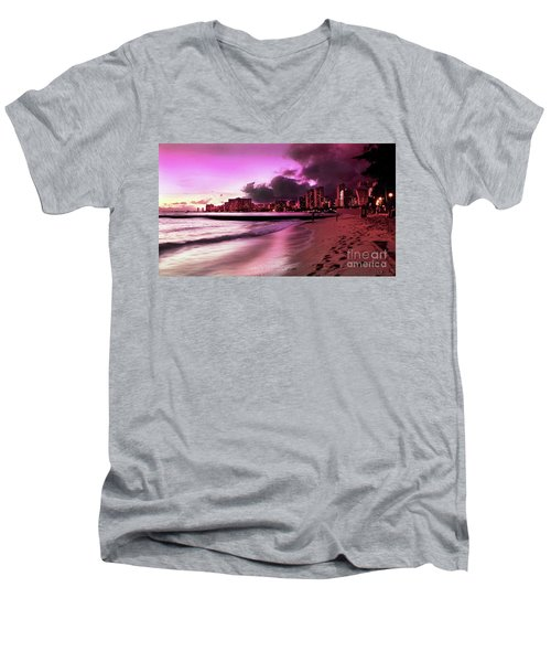 Men's V-Neck T-Shirt featuring the photograph Waikiki Twilight by Kristine Merc