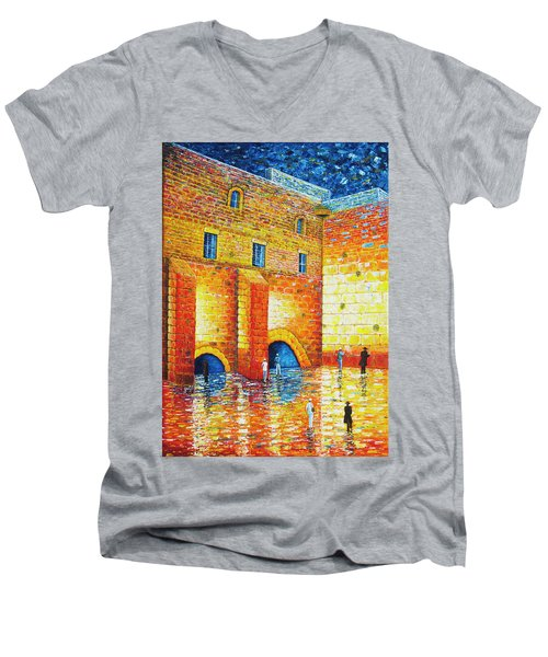 Men's V-Neck T-Shirt featuring the painting Wailing Wall Original Palette Knife Painting by Georgeta Blanaru