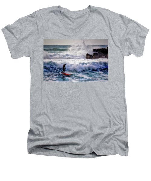 Waimea Bay Surfer Men's V-Neck T-Shirt by Jim Albritton