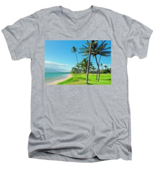 Men's V-Neck T-Shirt featuring the photograph Waipuilani Beach Kihei Maui Hawaii by Sharon Mau