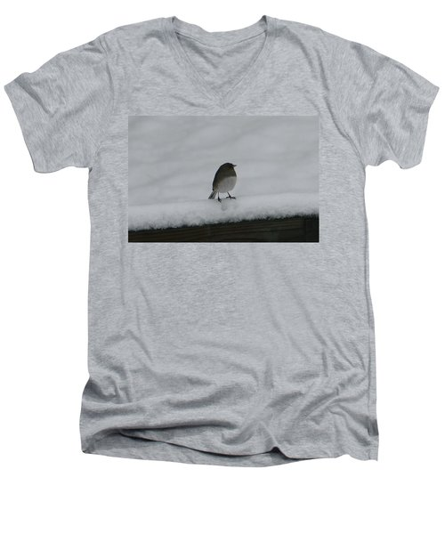 Men's V-Neck T-Shirt featuring the digital art Waiting For Spring by Barbara S Nickerson