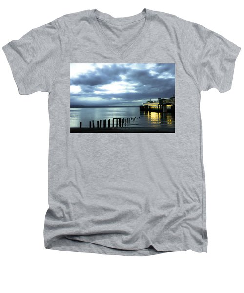 Waiting For The Ferry Men's V-Neck T-Shirt by Ronda Broatch