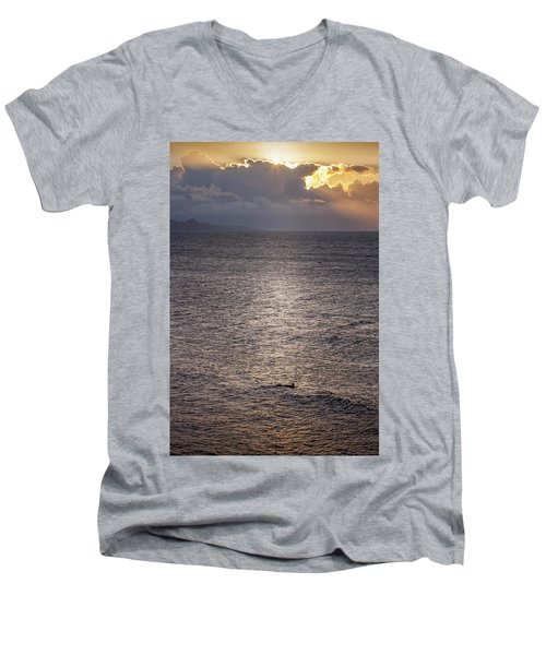 Waiting For The Last Wave Of The Day Men's V-Neck T-Shirt