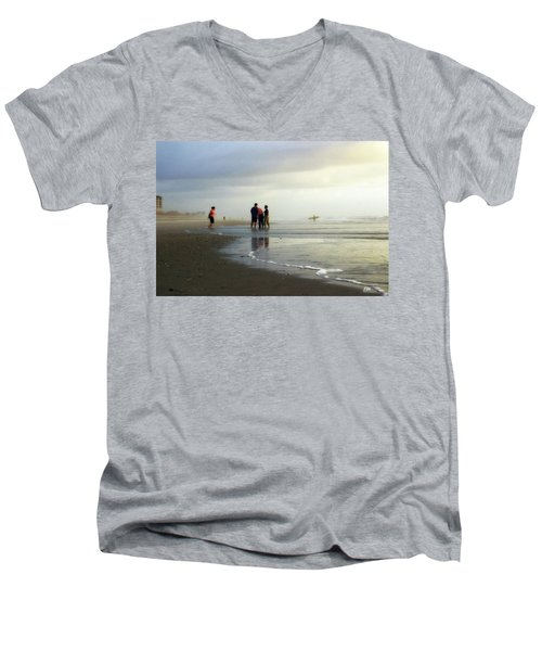 Men's V-Neck T-Shirt featuring the photograph Waiting For The Sun by Phil Mancuso