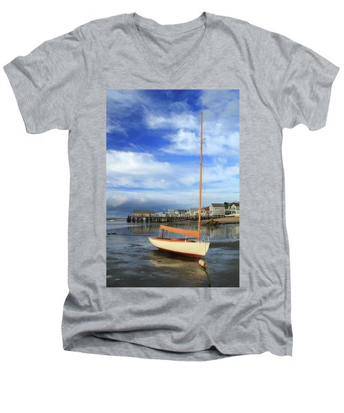 Men's V-Neck T-Shirt featuring the photograph Waiting For The Tide by Roupen  Baker