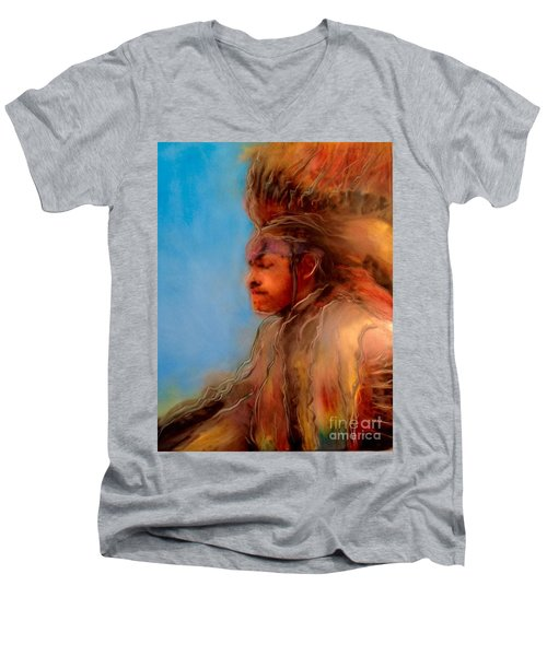 Men's V-Neck T-Shirt featuring the painting Wakantanka Maka Kin Kaye by FeatherStone Studio Julie A Miller