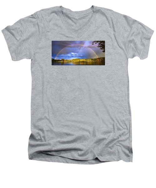 Men's V-Neck T-Shirt featuring the photograph Wake Up Rainbow  by Kadek Susanto