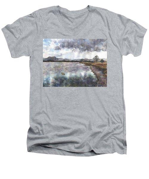 Walden Ponds On An April Evening Men's V-Neck T-Shirt by Anne Gifford