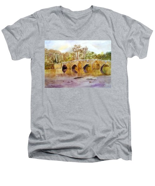 Wales Dipping Bridge Men's V-Neck T-Shirt by Larry Hamilton