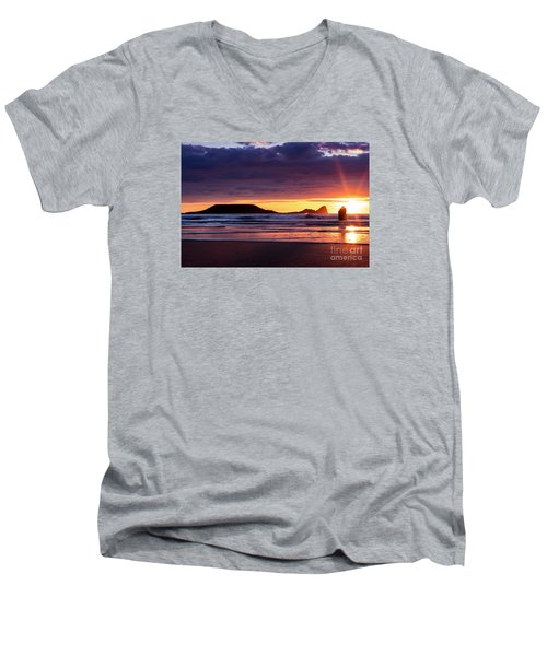 Wales Gower Coast Helvetia Men's V-Neck T-Shirt