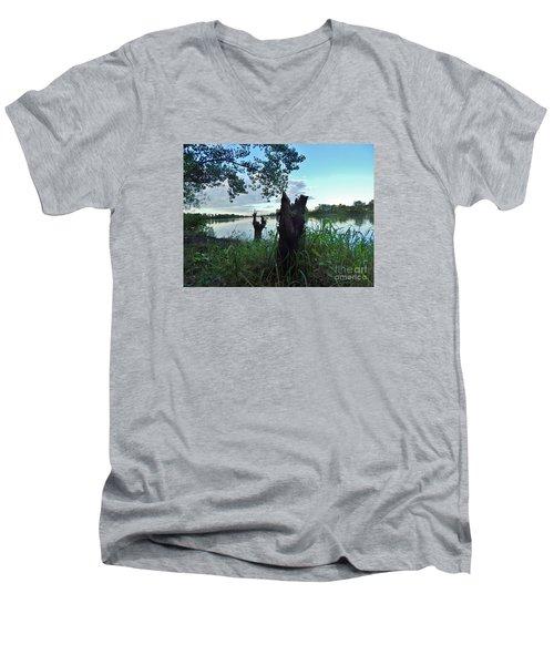 Walk Along The River In Verdun Men's V-Neck T-Shirt by Reb Frost