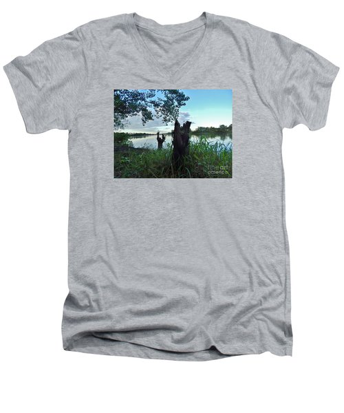 Walk Along The River In Verdun Men's V-Neck T-Shirt