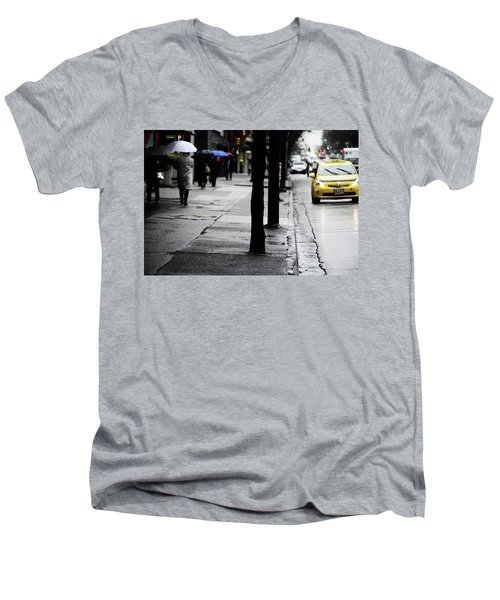 Walk Or Cab Men's V-Neck T-Shirt by Empty Wall