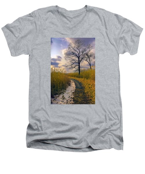 Walk With Me Men's V-Neck T-Shirt by John Rivera