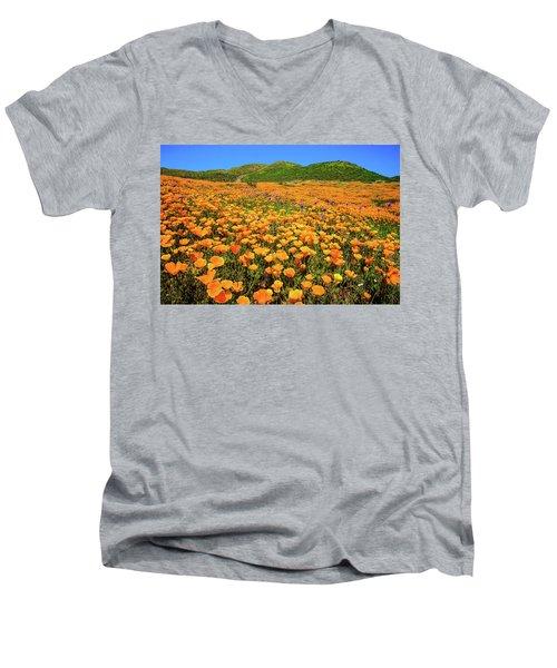Walker Canyon Wildflowers Men's V-Neck T-Shirt by Lynn Bauer