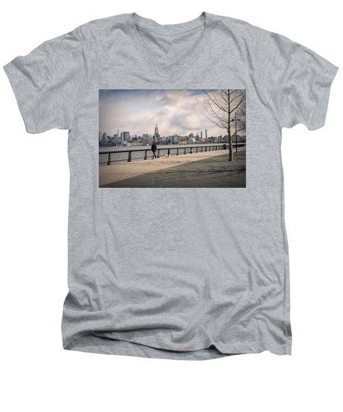 Walking Along Hoboken's Hudson River Waterfront Walkway Men's V-Neck T-Shirt