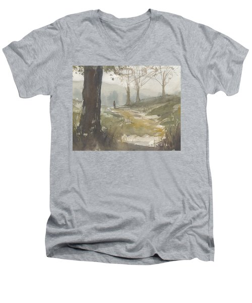 Walking At Green Island Men's V-Neck T-Shirt