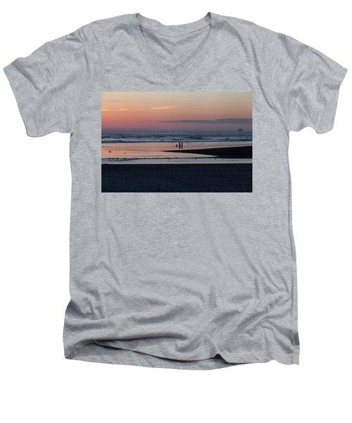 Walking Dogs On The Beach Men's V-Neck T-Shirt