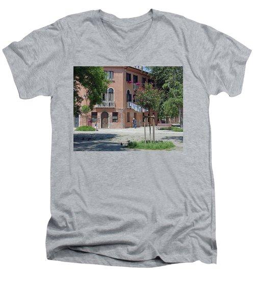 Walking In A Quiet Neighborhood On Murano Men's V-Neck T-Shirt
