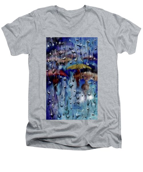 Men's V-Neck T-Shirt featuring the digital art Walking In The Rainfall by Darren Cannell