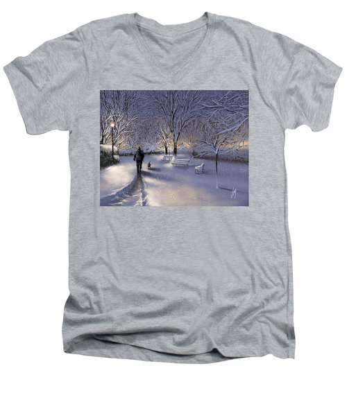 Men's V-Neck T-Shirt featuring the painting Walking In The Snow by Veronica Minozzi