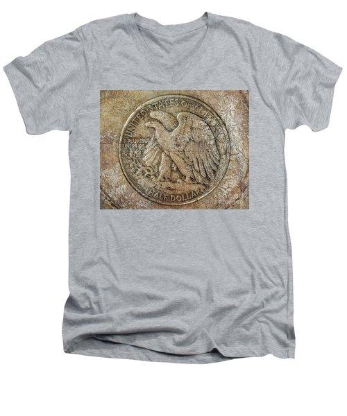 Walking Libery Half Dollar Reverse Men's V-Neck T-Shirt