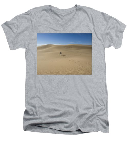 Men's V-Neck T-Shirt featuring the photograph Walking On The Sand by Tara Lynn