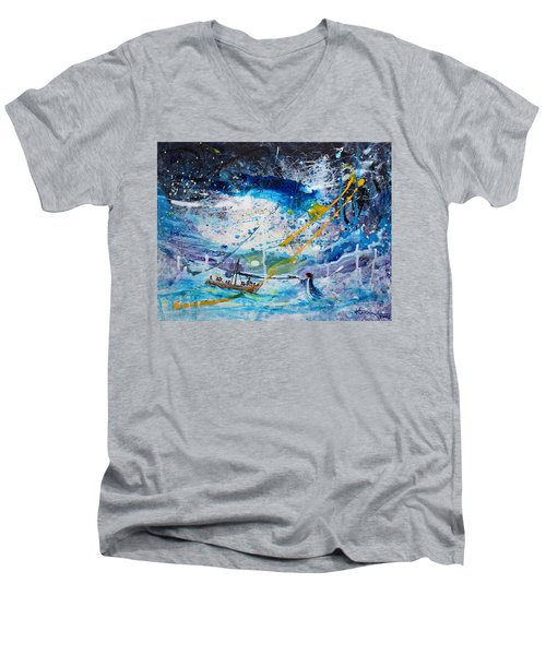 Walking On The Water Men's V-Neck T-Shirt by Kume Bryant
