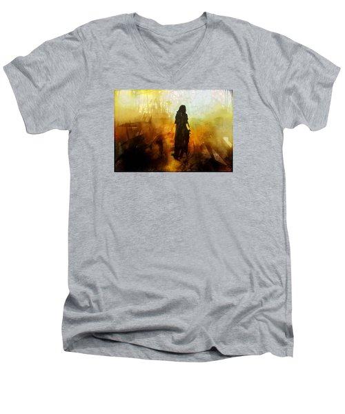 Walking Out From Chaos Men's V-Neck T-Shirt by Gun Legler