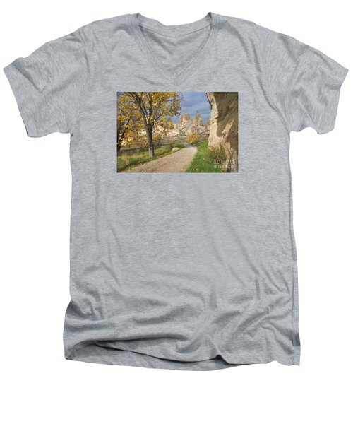 Walking The Cappadocia Men's V-Neck T-Shirt by Yuri Santin