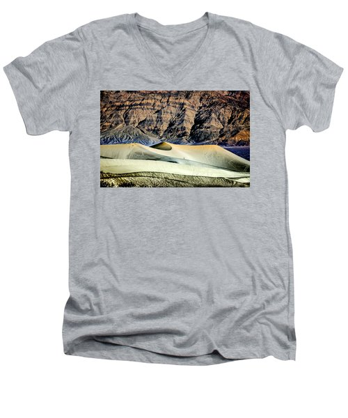 Men's V-Neck T-Shirt featuring the photograph Walking The Dunes In Death Valley by Janis Knight