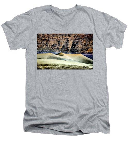 Walking The Dunes In Death Valley Men's V-Neck T-Shirt