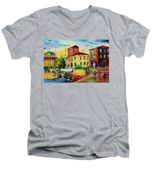 Walking The Harbor Men's V-Neck T-Shirt
