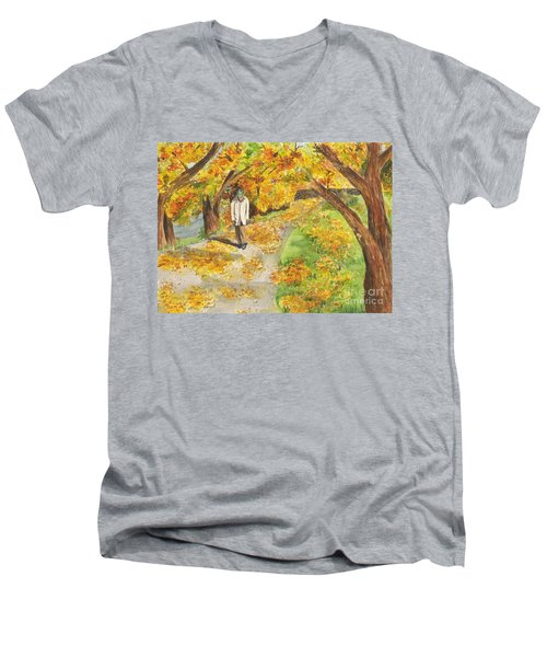 Walking The Truckee River Men's V-Neck T-Shirt